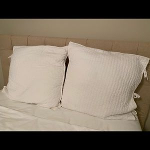 Pottery Barn Pick-stitch cotton/linen Pillow Shams